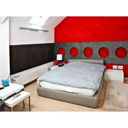 Mobila pe comanda dormitor lorena mdf pat tapitat complet panou perete de piele dressing usi glisante sisteme nemtesti