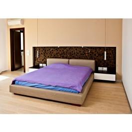 Dormitor pe comanda pat matrimonial complet tapitat noptiere suspendate cu sertare culisante fara manere deschidere prin apasare