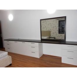 mobilier la comanda dormitor alb pat modern tapitat comoda pal dressing cu usi glisante si oglinda