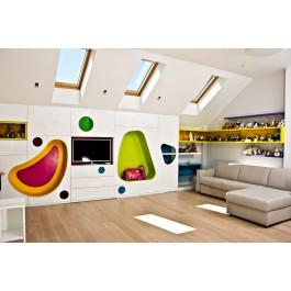 mobilier la comanda camera tineret culori vii mdf vopsit ral polite noptiera cub banca tapitata dressing